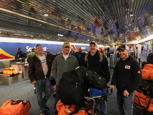 IUOE Local 420 members checking in for their flight to Puerto Rico